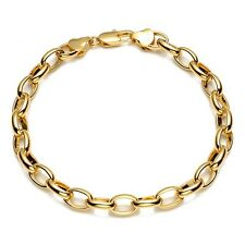 "Hotsale Men's/Women's Bracelet 18K Yellow Gold Filled Charms Chain 8"" ring Link"