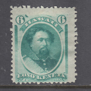 Hawaii Sc 33a MLH. 1878 6c bluish green King Kalakaua, fresh, sound, VLH