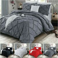 Quilt Duvet Cover 100% Brushed Cotton Pleated Bedding Set Double King UK Sizes