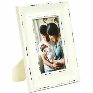 Farmlyn Creek Rustic Picture Frame for 4 x 6 Inch Photo, White Distressed Wood