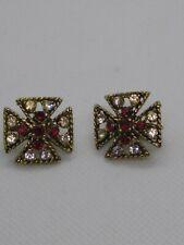 Signed Maltese Red White Rhinestone Clip On Earrings