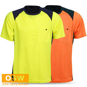 HI VIS UNISEX SAFETY LIGHT COOL DRY WAREHOUSE TRADIES CONSTRUCTION T-SHIRTS