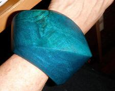 tribal monies designer massive wood bangle bracelet teal bluel  dead stock xl