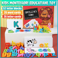 Puzzle Alphabet Letters Cards Baby Kid Children Educational Montessori Toy
