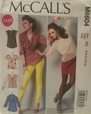 M6604 McCall's Easy Women's Sewing Patterns For Tops For Sizes 6, 8, 10, 12, 14