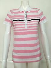 BNWT Ladies Ralph Lauren active black white pink striped polo top,size M