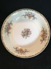Hinode China Bowl/ DISH Blue Band Pink Floral Gold Trim White Ivory 8""