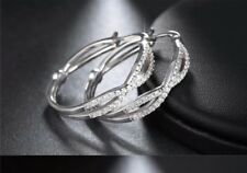 """Exquisite platinum plated cubic zirconia Crystal's crossover 1"""" hoop earrings"""