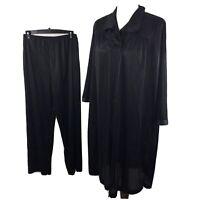 Vtg 80s Vanity Fair 2 Piece Pajama Set Top Long Pants Silky Shiny Black