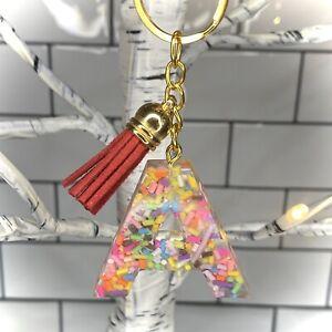 Handmade Resin Gift Sprinkles Sweet Initial Keyring Personalised Alphabet Tassle