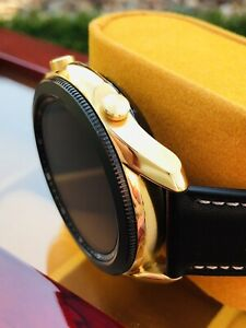 CUSTOM 24K Gold Plated 45mm Samsung Galaxy 3 With Black Leather Band - Bluetooth