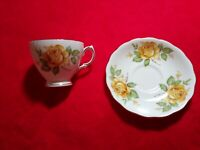 Royal Vale Bone China Tea Cup And Saucer, yellow roses, made in England