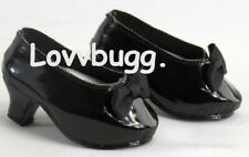 Black Patent Heels w Bow for 18 inch American Girl Doll Shoes TRUE US SELLER 🐞