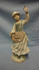Attractive Rare Retired Lladro Spain Figure - 4758 Girl With Sparrow