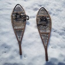 Antique Snow Shoes Original Leather Bindings Wonderful Primitive Woven Rawhide