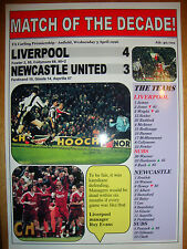 Liverpool 4 Newcastle United 3 - 1996 - souvenir print