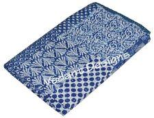Queen Patchwork Kantha Quilt Indian Reversible Bedspread Bedding Throw Blanket