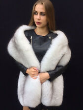 Double Sided Blue Fox Fur Stole 70' King Size Boa Two Full Pelts Collar