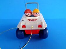 FISHER PRICE ~BOUNCING BUGGY~ PULL TOY- MAKES PUTT PUTT SOUND, Vtg 1973~#122~USA
