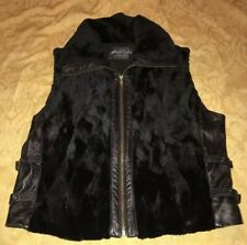 Sheared Mink Black Leather Vest Sz Large Made By Morris Kaye & Sons New