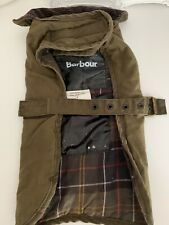 Barbour Wax Cotton Dog Coat/ Jacket  - Size Small. Olive Tartan Lining