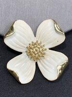 Vintage Pin Brooch GerrY's Classic Gold Dogwood Flower Spring Cream Enamel 1 5/8