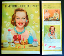 Vtg 1956 Avon makeup Wild Rose perfume 2 page advertisement print ad art   (DM2)