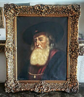 Antique Dutch Oil Painting O/C Portrait of a Old Bearded Man Rabbi Signed Framed