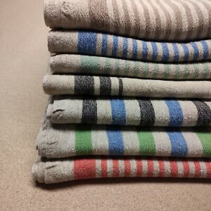 100% linen fabric - heavy french belgium flax dense - striped sack weave linen