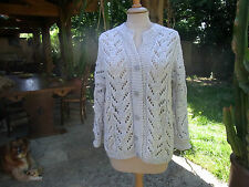VINTAGE TRICOT MAIN PULL AJOURE GRIS PERLE T40 - HAND KNITTED PULLOVER GREY