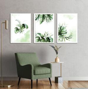Set of 3 Botanical Prints Wall Art Poster Green Prints +White Frames A3