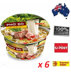 6 x 65Gr MAMA Pho Bo Instant Beef Soup Bowl Noodle FREE SHIPPING Home Office
