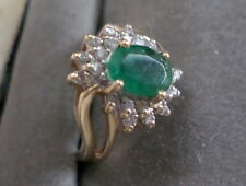 14KT EMERALD & DIAMON RING SIGNED A P3 SIZE 4.5