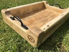 Upcycled Wood Room Service Tray Rectangle Finish Serving Food Drinks