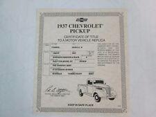 Danbury Mint Paperwork 1937 Chevy Pickup
