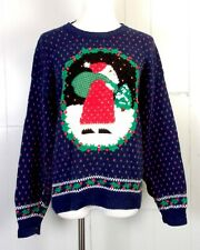 vtg 80s 90s Northern Isles Hand Embroidered Ugly Christmas Sweater santa L