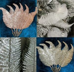 X6 22cm Christmas Tree Decoration Clip On Feather Glittery Baubles Ornament