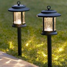 Pair of Warm White LED Solar Powered Glass Lantern Garden Path Stake Lights