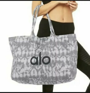 NEW $48 ALO Yoga Cotton Shopper Tote Tie Dye Gray Black Beach Bag