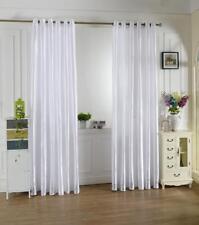 White Satin Window Curtain Balcony Blackout Drapes Panel Valances 100x250cm
