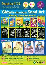 Glow In the Dark Sand Art kit - Cheeky Animal theme (6 x Large card), au seller