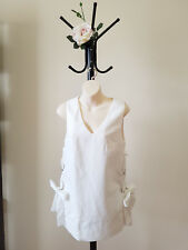 ✿♡ 'Madison Square' Womens Top Size Small (White Lace Up Modern Chic) ♡✿