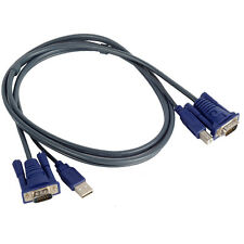 USB 2.0 PC Monitor 15-Pin Standard VGA SVGA Adapter Cable/Cord For KVM Switch #C