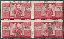 (u) Italia 1946 Repubblica: DEMOCRATICA Lire 100 [#565; Quartina] €200