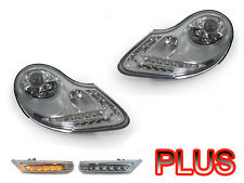 97-04 Porsche Boxster 986 DRL Style LED Headlight + Bumper Clear Side Marker S