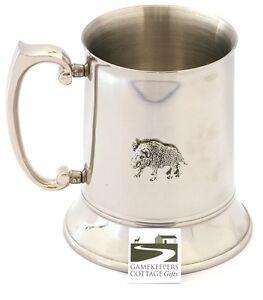 Wild Boar  Hunting Design Pint Tankard Stainless Steel