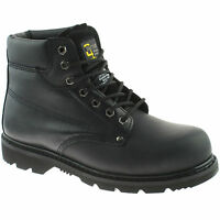 MENS GRAFTERS LEATHER SAFETY WORK BOOTS SIZE UK 13 - 15 STEEL TOE BLACK M124A KD