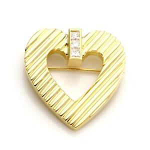 Tiffany & Co. Diamond 18k Yellow Gold Fluted Heart Brooch LIQUIDATION!!