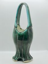Large Ornate Green Handcrafted Pottery Basket Vase