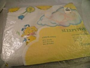 VINTAGE ESMOND SLEEPYTIME CRIB BABY BLANKET WHITE WITH YELLOW DUCKY & FLOWERS